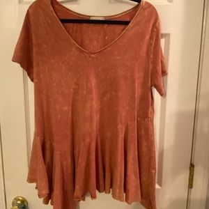 Altar'd state burnt orange acid wash blouse